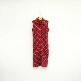 🚚 二手 紅色 格紋 排扣 洋裝 明太子 625