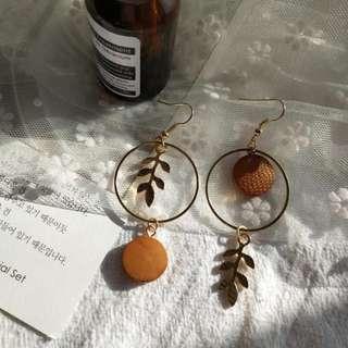 【現貨】少女復古森林系圓形木頭樹葉耳鉤耳夾耳環