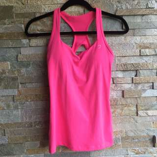 Lorna Jane pink workout top with built in bra