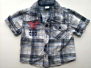 PRELOVED DISNEY Mickey Mouse Boy's Blue Checked Shirt  - in excellent condition