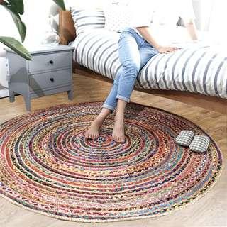 🚚 印度進口棉麻地毯手工編織碎布條黃麻圓形吊籃花園陽台休閒椅地墊