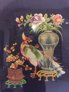 Antique peranakan chair cover Chinese antique textile embroidery