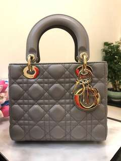 Lady Dior Handbag (Small size) In Grey