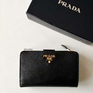 Authentic Prada Saffiano Metal Wallet Nero 1ML225