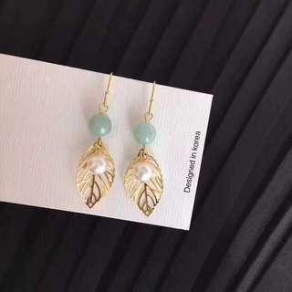翡翠+淡水珍珠耳環