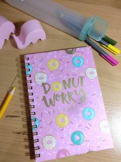 NEW Notebook DONUT Worry Be Happy