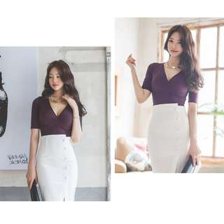 new 2018 summer and autumn celebrity career OL thin high waist T-shirt with package hip half skirt in two sets of female