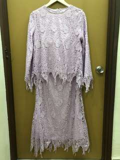 Lubna Top and Skirt in Lace (Lilac)