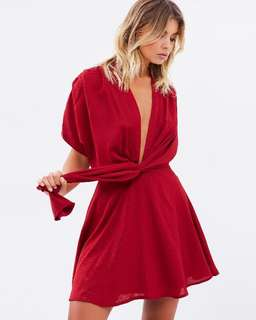 THE ICONIC Red Plunge Mini Dress - 10