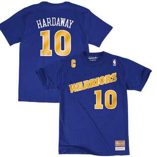 Men's Golden State Warriors Tim Hardaway Mitchell & Ness (M&N) Royal Hardwood Classics Name & Number T-Shirt Size L