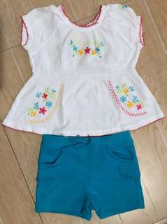 embroidered blouse shorts set 3T