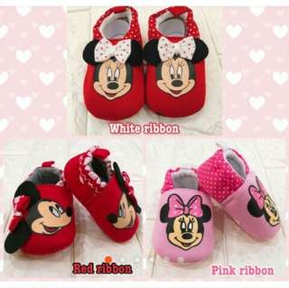 Baby Girl Shoes Minnie Mouse Pink Red White Slip Ons