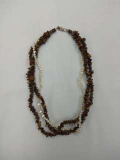 Fresh Water Pearl with Tiger Eye Stone Necklace