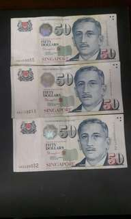 Singapore Note  ( Nice No )  5AC858855  4AJ112211  4A320032  ($70 Each) Collectable