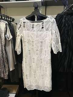 White Kimono Laced Dress (S/M)