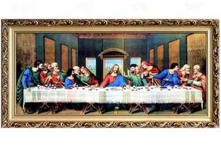 🚚 西方人物最後的晚餐家居裝飾畫歐式油畫宮廷別墅餐廳壁畫玄關掛畫