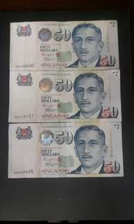 Singapore Note  ( Nice No )  4AV030030  5CE313131  (5HU060606 Reserved) ($80 Each)Collectable