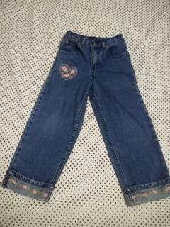 Denim Pants with Floral Design