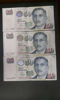 Singapore Note  ( Nice No )  5DU111555  5AC122222  3EN955555  ($100 Each) Collectable