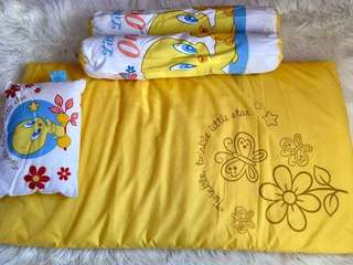 Preloved crib matress with bolster and pillow/EUC