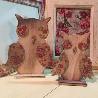 Floral wooden owls