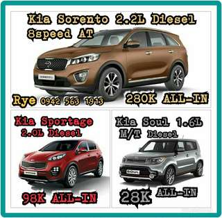 LOWDOWN PROMOS for KIA SOUL 28K, KIA SPORTAGE 98K, KIA SORENTO 280K ALL-IN DP