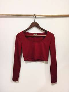 Bershka Maroon Crop Top