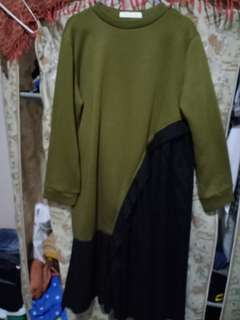 Pleated irregular dress olive green