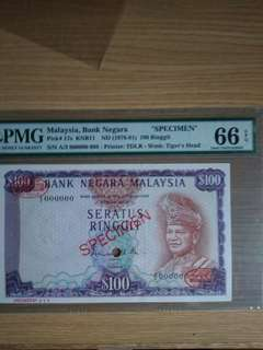 Malaysia S100 1972 TDLR SPECIMEN Gem Unc