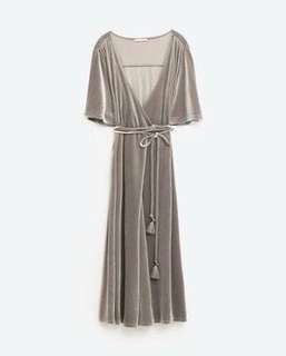Zara Velvet Maxi Wrap Dress