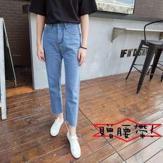 🚚 高腰直筒牛仔褲女寬松BF九分褲韓版學生2018新款闊腿褲【U1010】