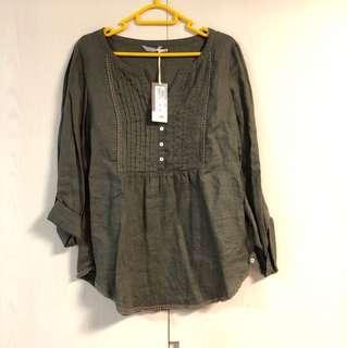 全新 M&S pure linen shirt 墨綠啡色純麻裇衫Brand New