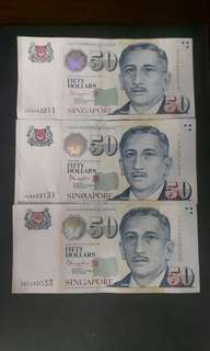 Singapore Note  ( Nice No)  4GJ442211  4LM553131  5BT990033  ( $70 Each) Collectable