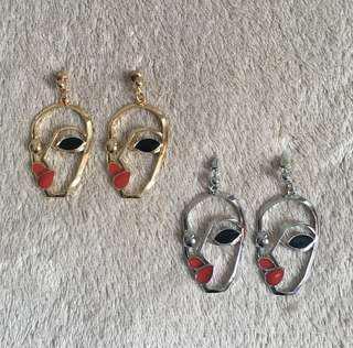 Retro Style Geometric Face Earrings