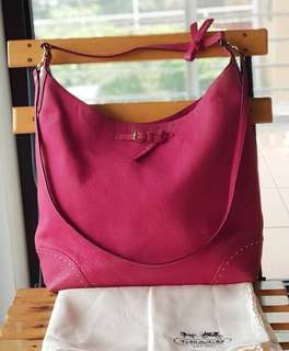 Authentic Coach Hot Pink Studded Two-way Hobo/Sling