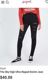 black ultra ripped jeans