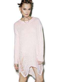 Dolls Kill Fairy Floss Pink Distressed Sweater Dress