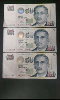 Singapore Note  ( Nice No)  5CN282838  5DN338998  5DR688388  ($70 Each)Collectable