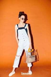 🚚 轉Bowwow Korea白色吊帶褲S
