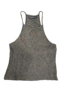 Brandy Melville grey ribbed high neck top