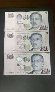 Singapore Note  ( Nice No)  5BF292933  4KP383800  3GQ898922  ($70 Each)Collectable