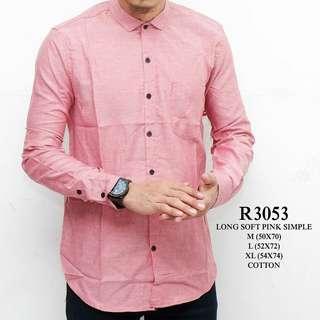 Kemeja panjang pria polos soft pink WL R3053