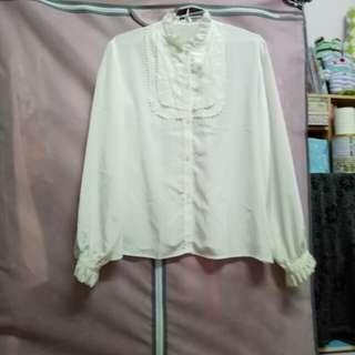 古著  宮廷荷葉邊刺繡白襯衫