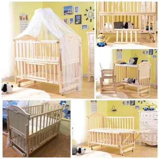 Wooden Crib Rocking New Zealand Pine Wood