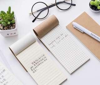 Ruled Grid & To Do List Plain Simplistic Muji Style Memo Pad