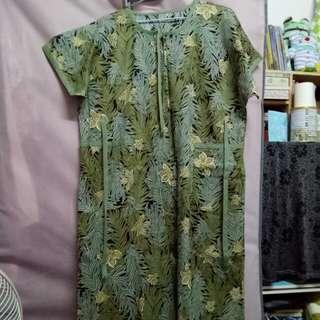 古著 🎌 熱帶雨林軍綠色綁帶棉洋裝