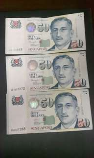 Singapore Note  ( Nice No)  5BE116868  4KJ227272  3HB727288  ($70 Each) Collectable