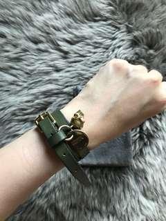 Alexander mcqueen Green double wrap crystal skull charm bracelet