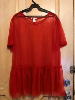 H&M red mesh top