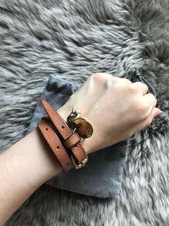 Alexander mcqueen Brown double wrap crystal skull charm bracelet